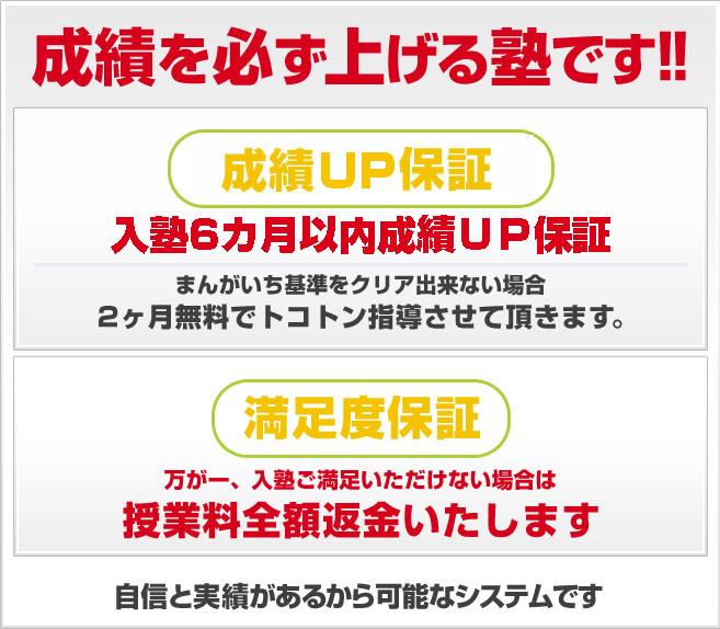 葛飾中、行田中専門のプロ教室だから可能な保証制度!!